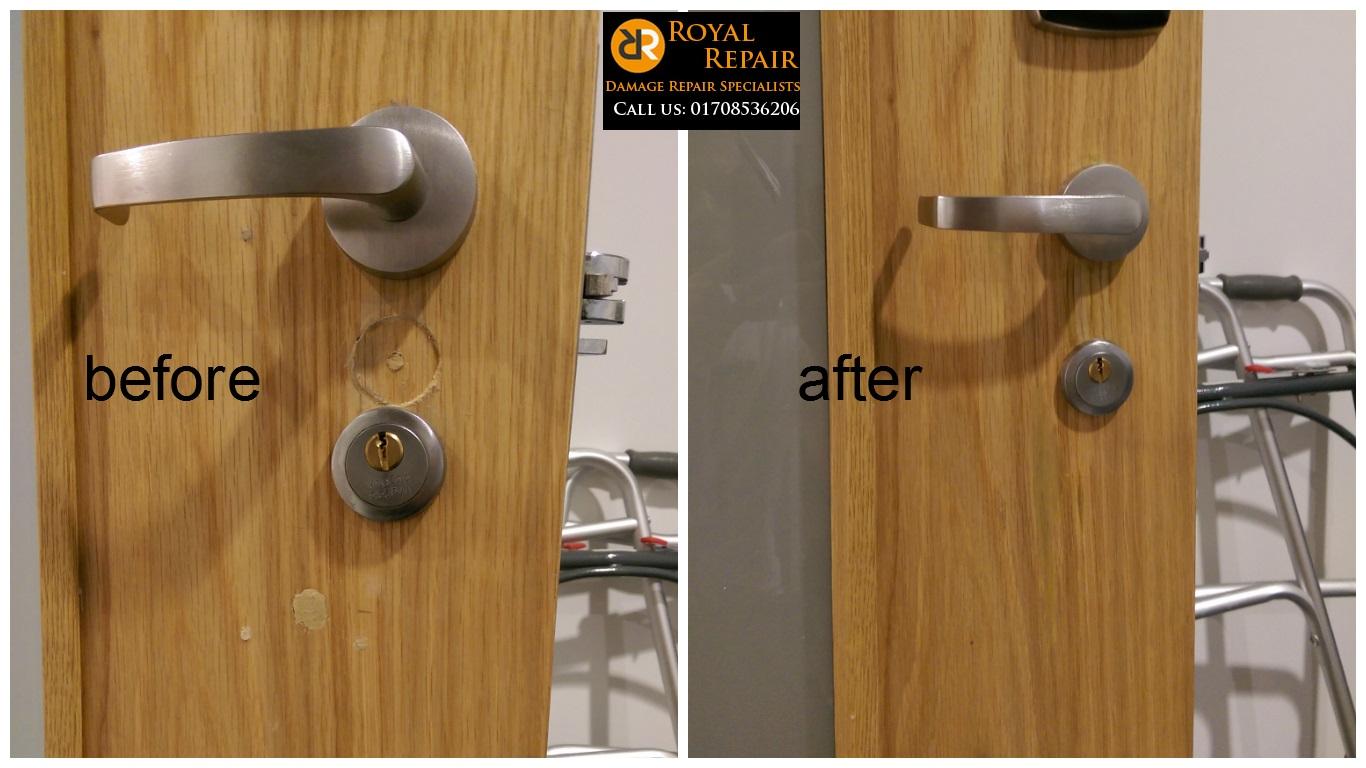 Door repairs royal repair for Repair wood veneer exterior door