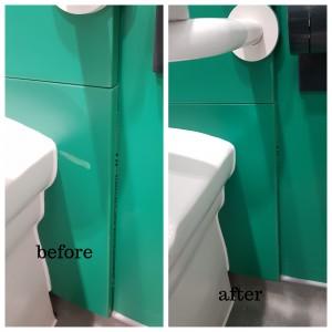 School toilet IPS panel damage repairs in London